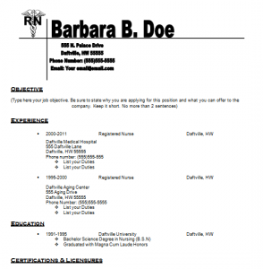 resume for nurses template - Sample Resume For A Nurse