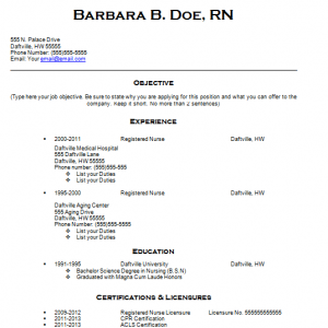Free Resume for Nurses