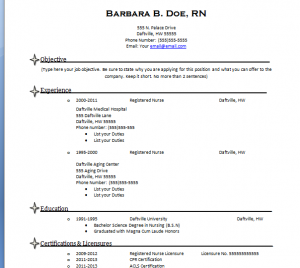 resume templates for nurses