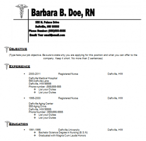 Resume Nurse Template  Example Nursing Resume