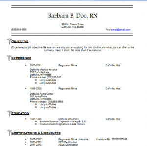 Nursing Resume Templates Free Resume Templates For Nurses How - Registered nurse resume template free
