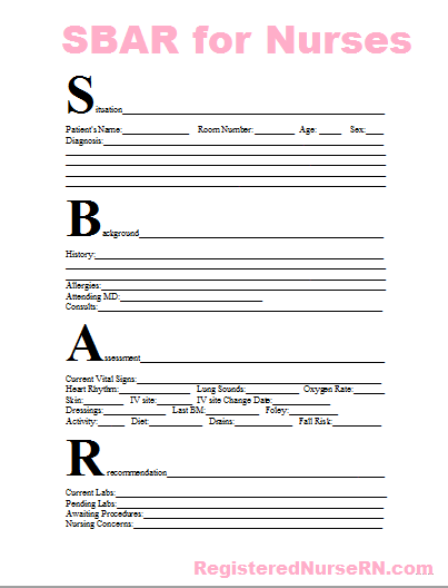 SBAR Nursing Nurse Report Sheet