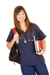 school nurse rn registered nurse nursing student with books