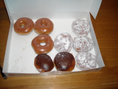 Krispy Kreme doughnuts, pictures, blueberry filled, chocolate cream filled, glazed, Box of donuts