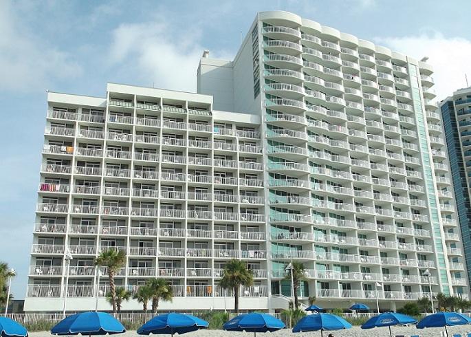 sandy beach resort, back of hotel, myrtle beach, south carolina