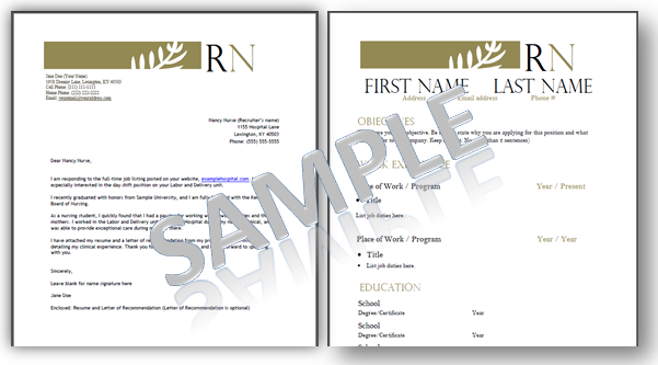 Nursing Resume Template, Resume Template For Nurses, Cover Letter  Nurse Resume Templates
