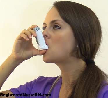 metered dose inhaler closed method technique, nursing, demonstration, how to use