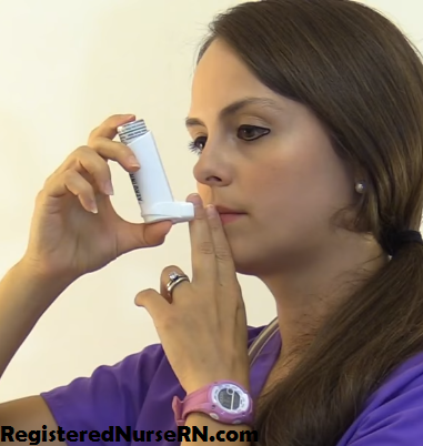 metered dose inhaler open mouth technique, how to use, demonstration, nursing
