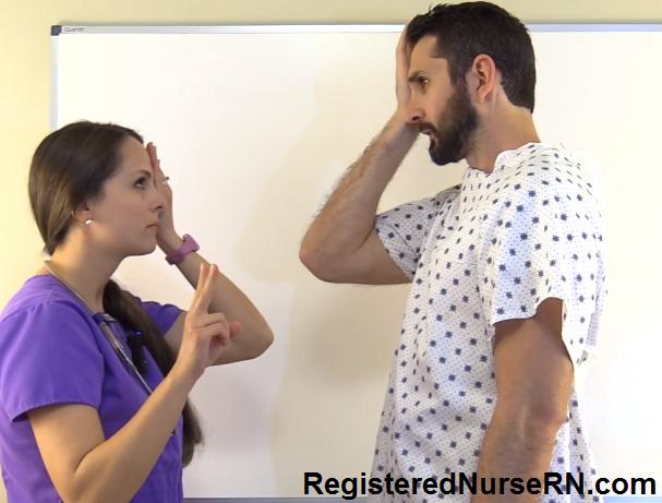 confrontation visual field test, optic nerve, nursing