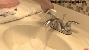 how to clean dentures, nursing skill, cna