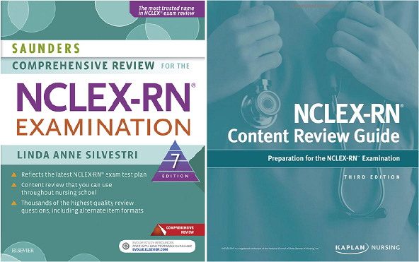 nclex review guide, kaplan review,saunders nclex review,nclex