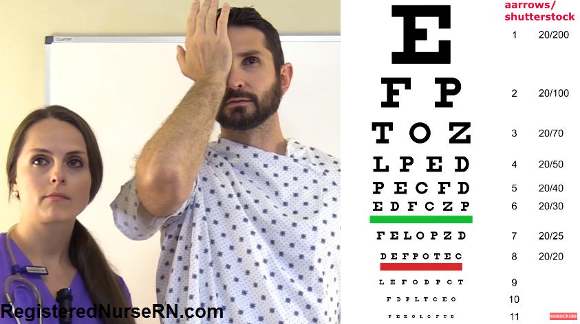 snellen chart, visual acuity, optic nerve, cranial nerve