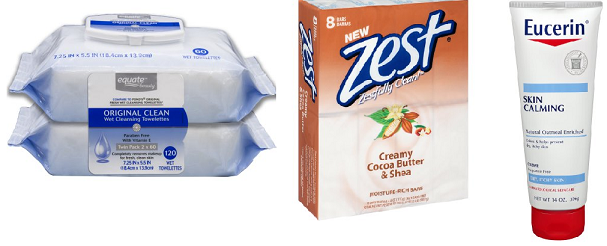 zest soap, eucerin calming creme, equate towelettes clean fresh