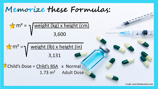 bsa formula, body surface area, nursing, pediatric