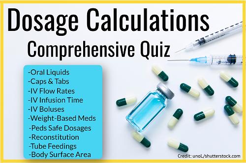 Dosage Calculations Nursing Comprehensive Quiz