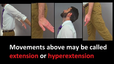 hyperextension neck, hyperextension thigh, hyperextension wrist, hyperextension arm