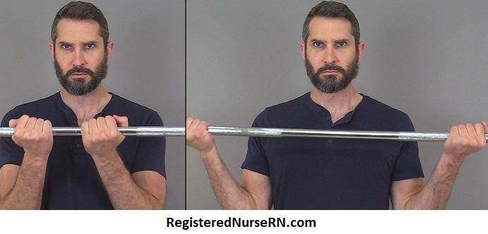 narrow vs wide grip barbell,barbell grip, biceps brachii