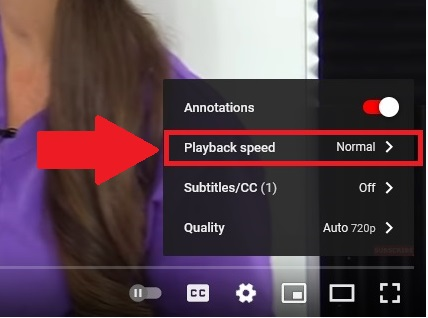 slow down youtube video, speed up youtube video, adjust youtube speed
